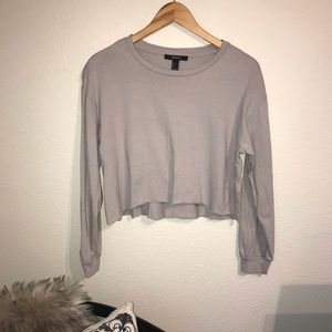 Forever 21 gray crop top raw edge S small